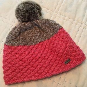 Pistil pink & brown knit beanie hat